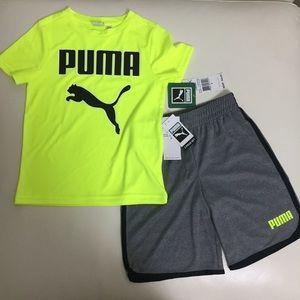 Puma neon cute shorts top outfit